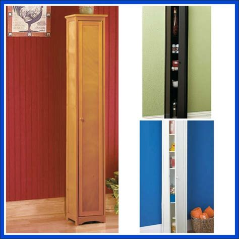 skinny slim tall wood cabinet storage shelves pantry