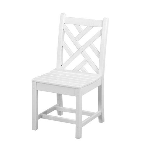 polywood chippendale white patio dining side chair