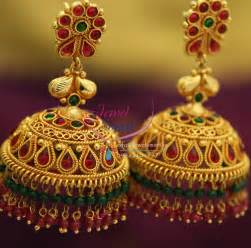jhumki style earrings j1605 broad grand gold design temple kempu ruby emerald
