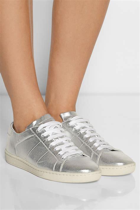 saint laurent metallic leather sneakers lyst