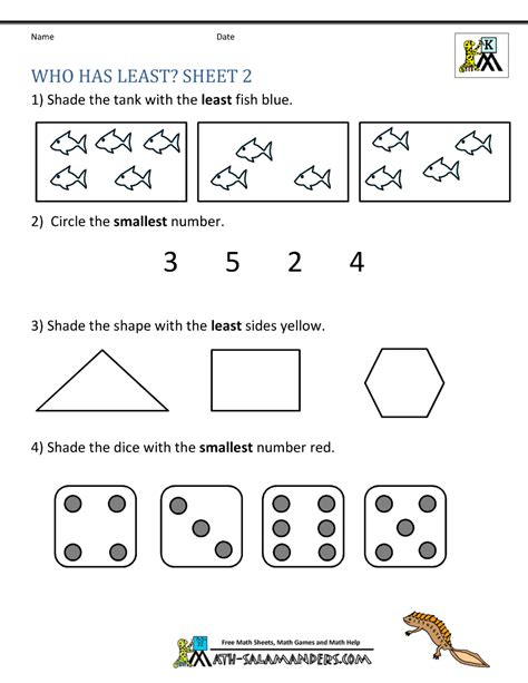printable kindergarten math worksheets comparing numbers 364 | kindergarten math worksheets who has least 2