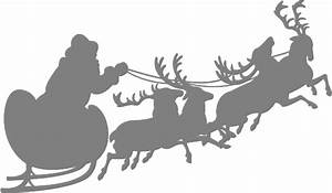 Santa Sleigh And Reindeer Silhouette Free Vector Silhouettes