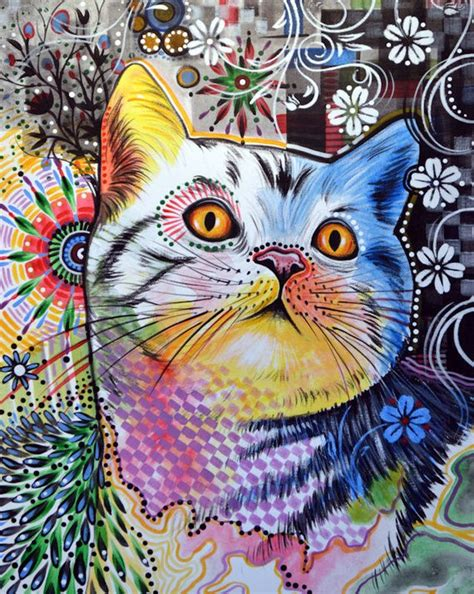 Cat Kitty Art Prnt  Abstract Cat Art  Chloe 8