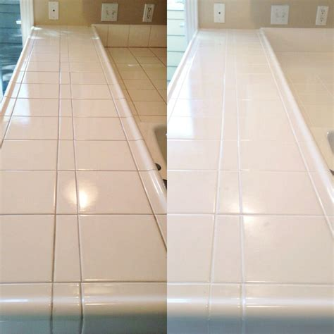 Counter Bright White Color Sealing  Northwest Grout Works