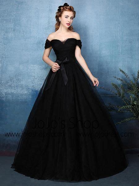 Black Off Shoulder Tulle Ball Gown Formal Dress X1603