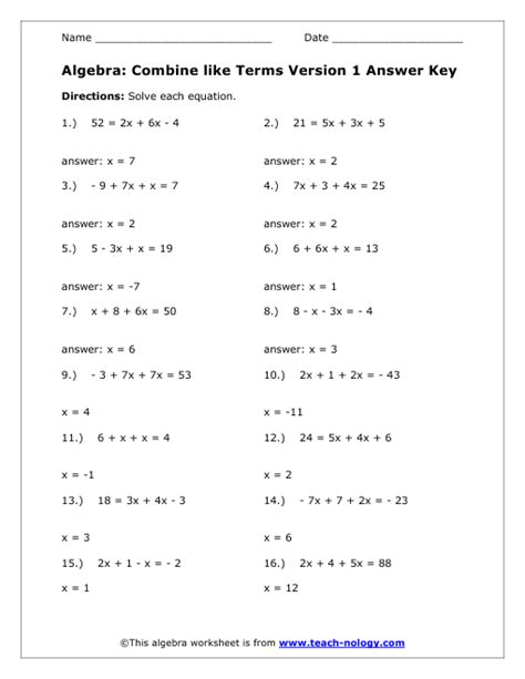 combining like terms worksheets and answers combining like terms worksheet pre algebra free worksheets