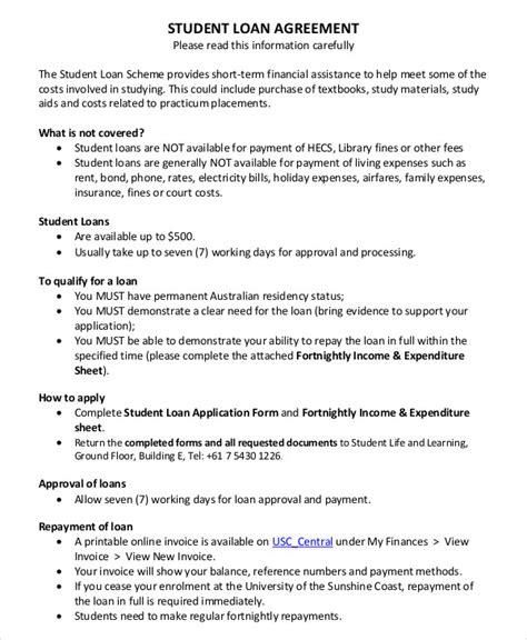 Student Contract Template by Loan Agreement Template 16 Free Sle Exle Format