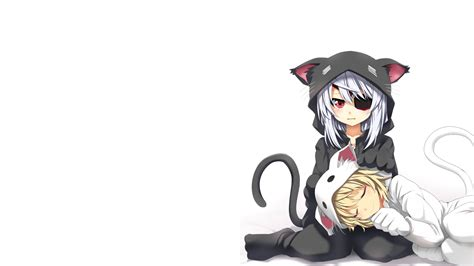 anime girl with eyepatch and black hair anime girls blonde blushing bodewig laura costume dunois