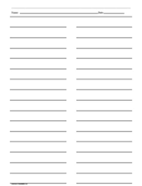 three column line ruled templates ruled paper with two columns printables lists