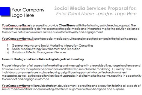social media proposal  templates  win clients