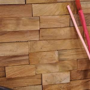 Parement de salle de bain (revêtement de mur) en bois (teck) recyclé : naturel, D : 20 cm x 50 cm