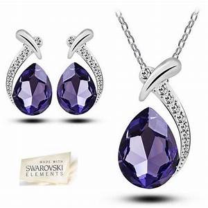 parure bijoux goutte cristal swarovski violet achat With bijoux cristal