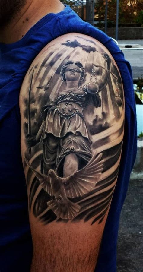 justice lady tattoo   shoulder