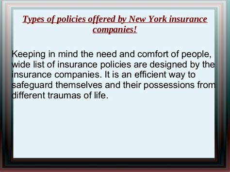 Types Of Policies Offered By New York Insurance Companies