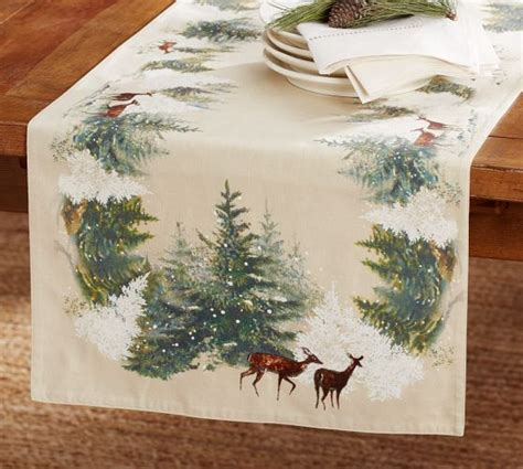 pottery barn christmas table runner deer in snow table runner pottery barn christmas and