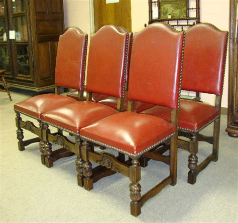 set of 6 vintage louis xiii style dining chairs for