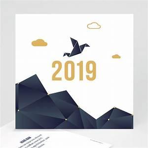 Carte De Voeux Gratuite A Imprimer Personnalisé : carte de voeux professionnelle origami colombe bleue ~ Louise-bijoux.com Idées de Décoration