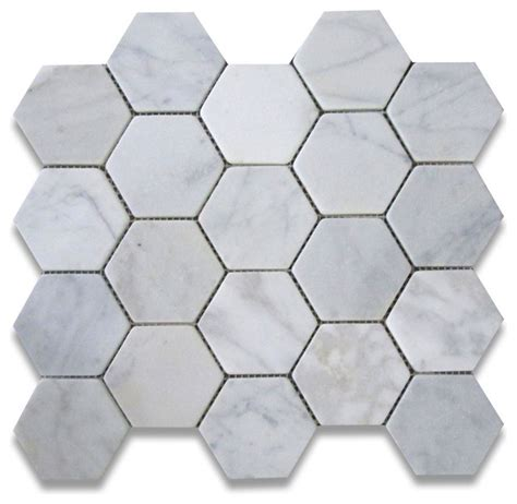 carrara marble hexagon mosaic tile 3 inch tumbled