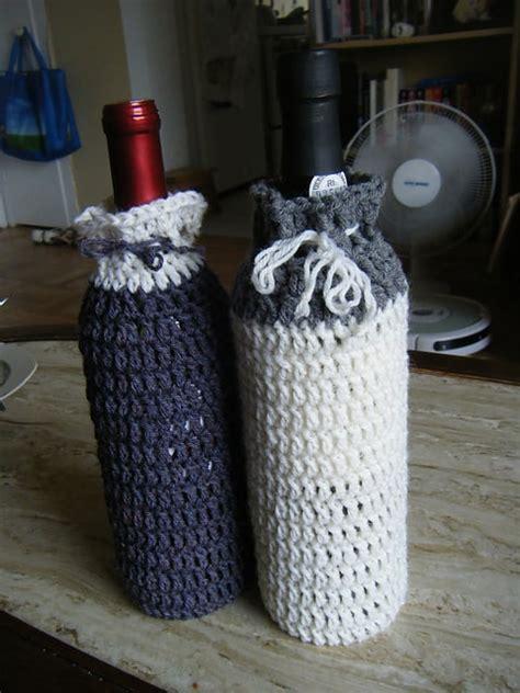 crochet wine bottle cozy skip   lou