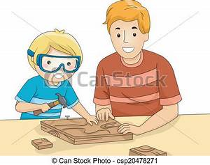 Vectors Illustration of Dad and Son Woodwork