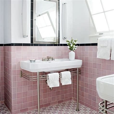 bathroom pink tile styled retro modern living spaces