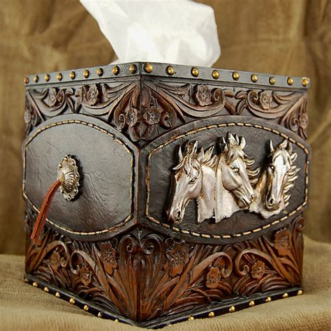 silver horses tissue box cover cabin place