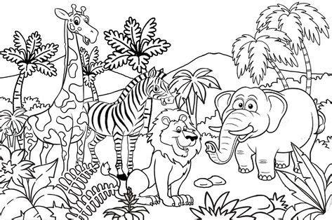 gambar kebun binatang kartun hitam putih kumpulan