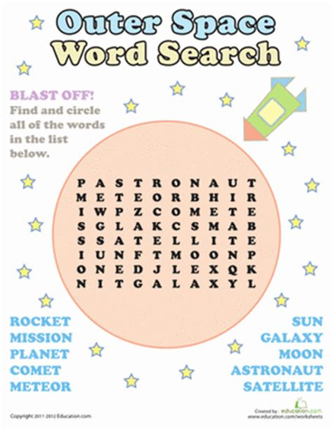 outer space word search worksheet education