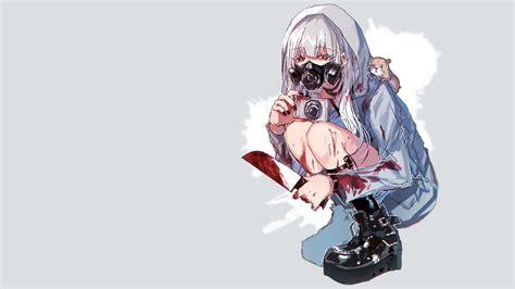 White Hair Anime Manga Anime Girls Simple Background