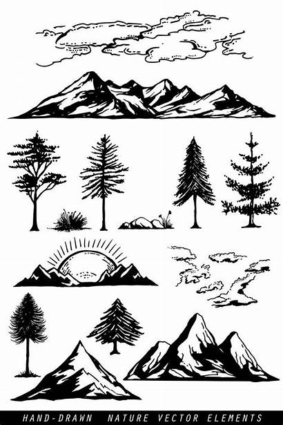Mountain Nature Silhouette Mountains Shadow Drawing Clipart