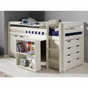Lit Combiné Bureau : lit combin pino iii blanc ~ Premium-room.com Idées de Décoration