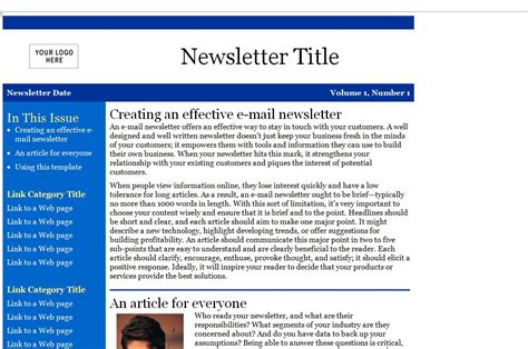 Newsletter Templates For Outlook by Newsletter Template Microsoft Outlook Freesoftmessenger