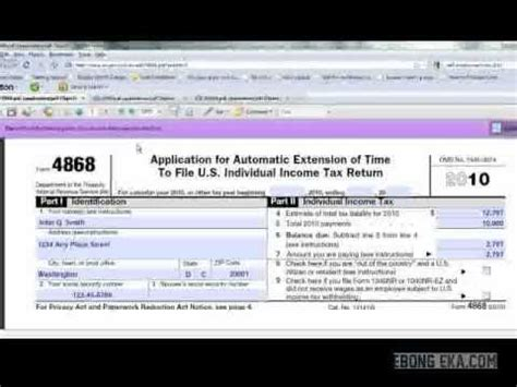 how to file tax return extension form 4868 youtube