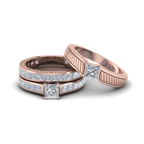 Get Our 14k Rose Gold Trio Wedding Ring Sets  Fascinating Diamonds