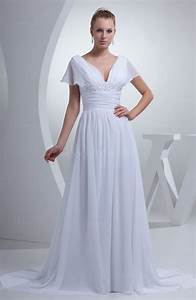 white plain hall a line v neck short sleeve chiffon court With plain a line wedding dress