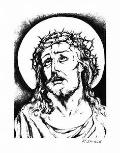 Jesus With Crown Of Thorns Drawing by Karen Sirard