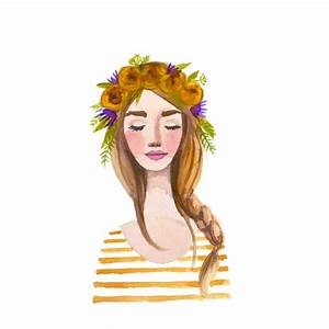 Items similar to Yellow Flower crown girl Print of ...