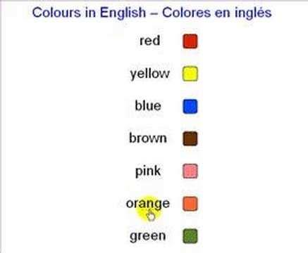 Colores En Ingles Youtube