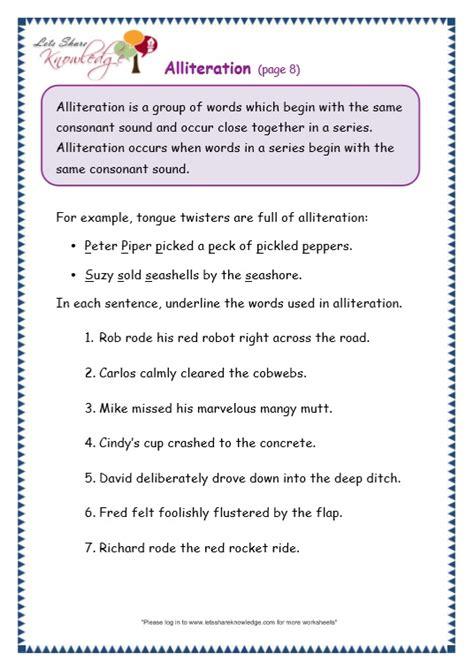 grade  grammar topic  alliteration worksheets lets
