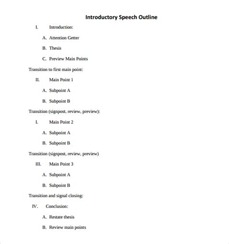 introduction speech outline 10 introductory speech exles sle templates