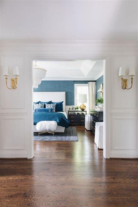 wainscotting hallway leading  blue master bedroom deco