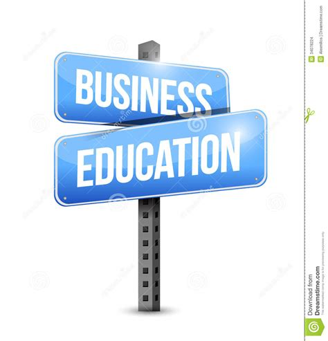 business education road sign illustration design stock