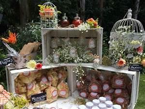 Mesas de dulces usando cajas de madera Dale Detalles