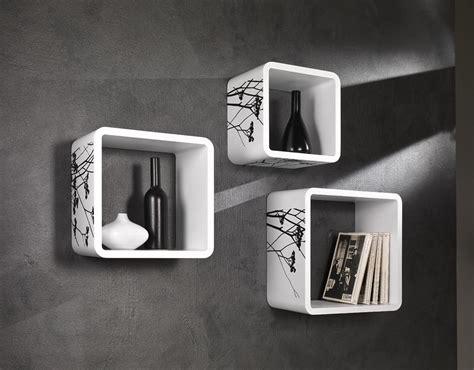 mensole da muro set 3 mensole cubi da muro laccato bianco e nero ebay