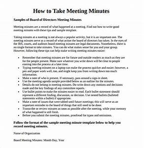 meeting minutes template 16 download free documents in With how to take minutes at a board meeting template