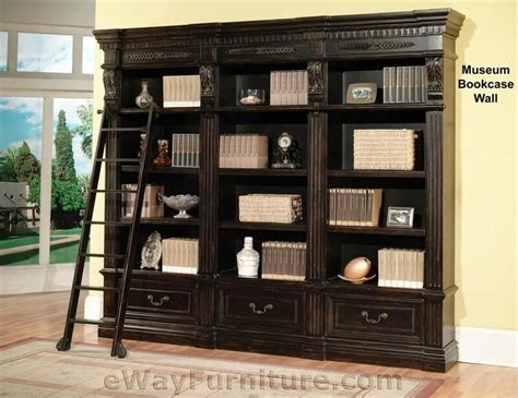 Black Wooden Bookcases by House Grand Manor Palazzo Museum Bookcase Wall