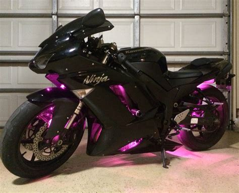 My Ninja 600 With Pink Leds I Added Myself!
