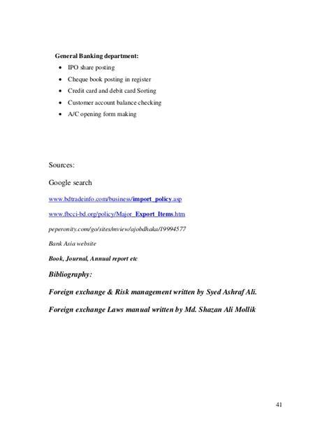 internship report  foreign trade activities  bank asia