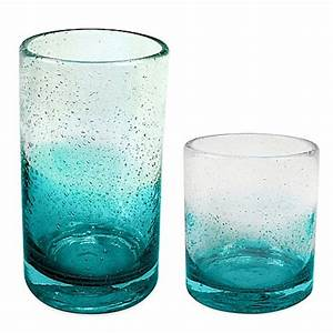 Ombre Bubble Glass Drinkware in Teal - Bed Bath & Beyond