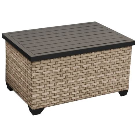 They are placed head to toe to create two storage niches. TKC Monterey Outdoor Wicker Storage Coffee Table in Summer ...